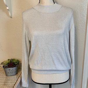 Draper's & Damon's Sweaters - White w Silver Sparkles Mock Turtleneck Sweater